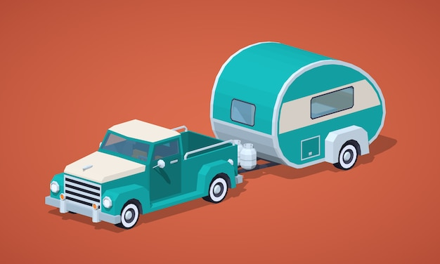 Capteur isométrique 3d rétro turquoise avec camping-car Vecteur Premium