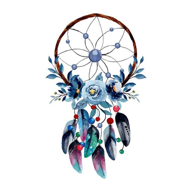 Capteur De Rêves Aquarelle Avec Fleur Bleue Et Plume Vecteur Premium