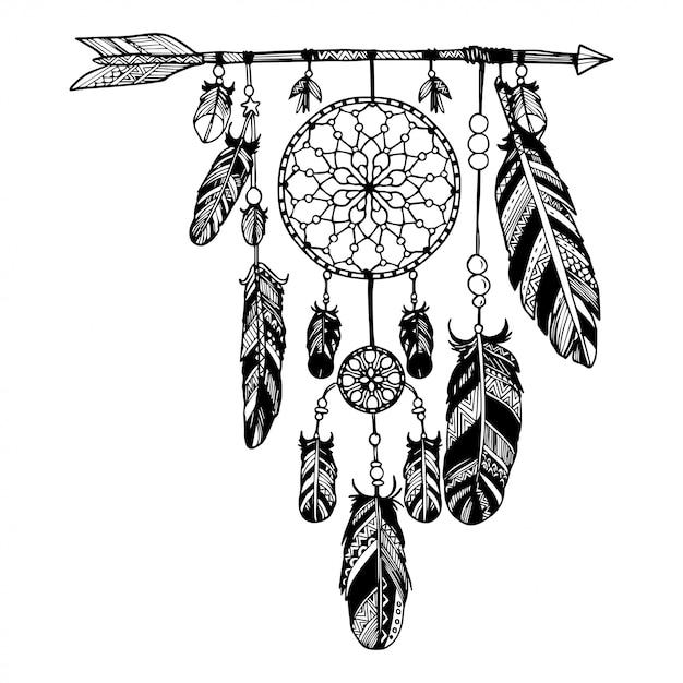 Capteur de rêves avec des flèches et des plumes Vecteur Premium