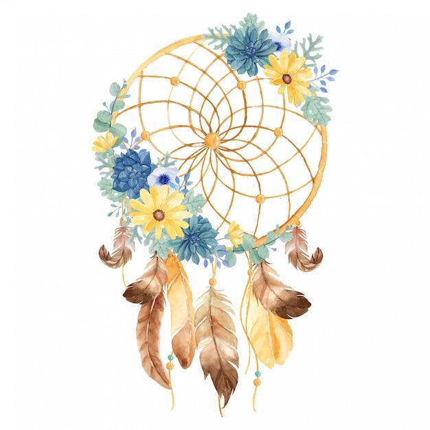Capteur De Rêves Ornemental Aquarelle Avec Belle Marguerite, Succulente, Anémone, Meunier Poussiéreux, Eucalyptus Et Plume Vecteur Premium