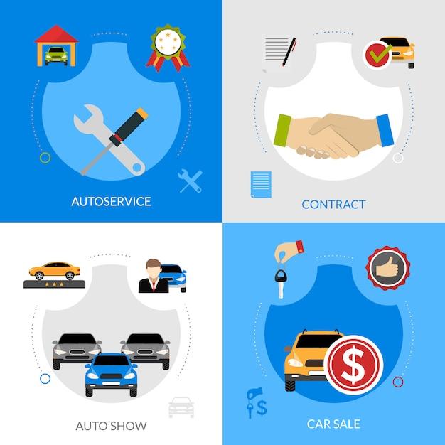 Car dealership flat elements square concept Vecteur gratuit