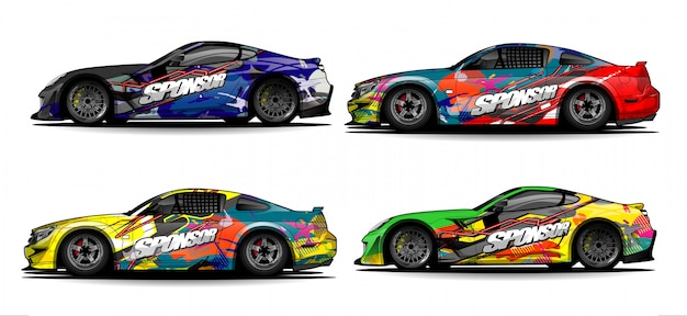 Car Wrap Graphic Racing Abstract Strip And Background For Car Wrap And Vinyl Sticker - Images Vectorielles Vecteur Premium