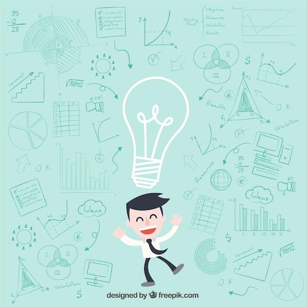 Caractère d'affaires ayant des idées Vecteur gratuit