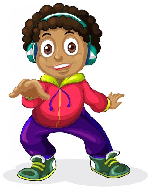 Un caractère américain enfants africains Vecteur Premium