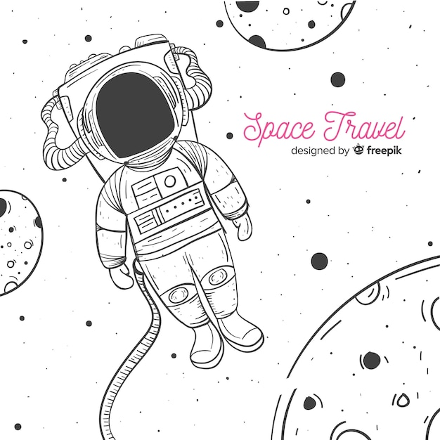 Caractère astronaute dessiné main belle Vecteur gratuit
