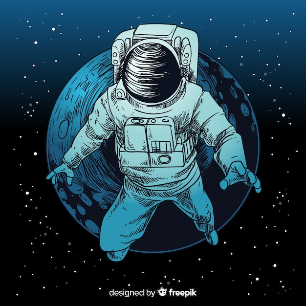Caractère D'astronaute Dessiné Main élégante Vecteur gratuit