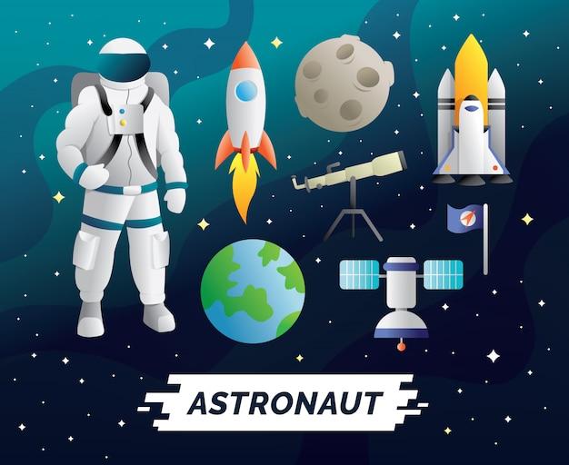 Caractère Astronaute Et Ensemble D'éléments Vecteur Premium