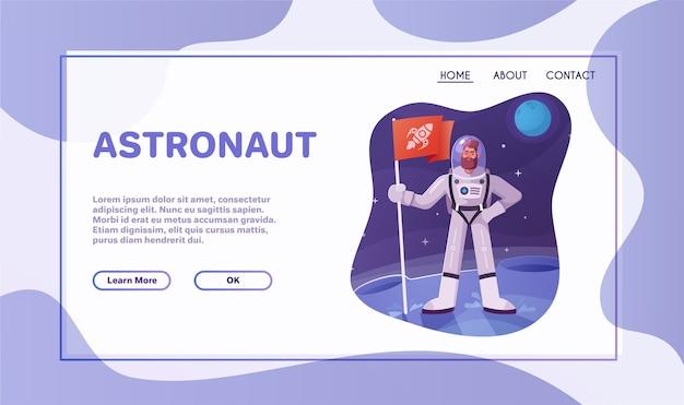 Caractère D'astronaute Explorant L'espace Extra-atmosphérique. Cosmonaute Futuriste En Combinaison Spatiale Marchant Et Volant. Illustration Vectorielle De Dessin Animé. Vecteur Premium