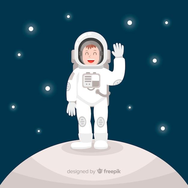 Caractère d'astronaute heureux avec un design plat Vecteur gratuit