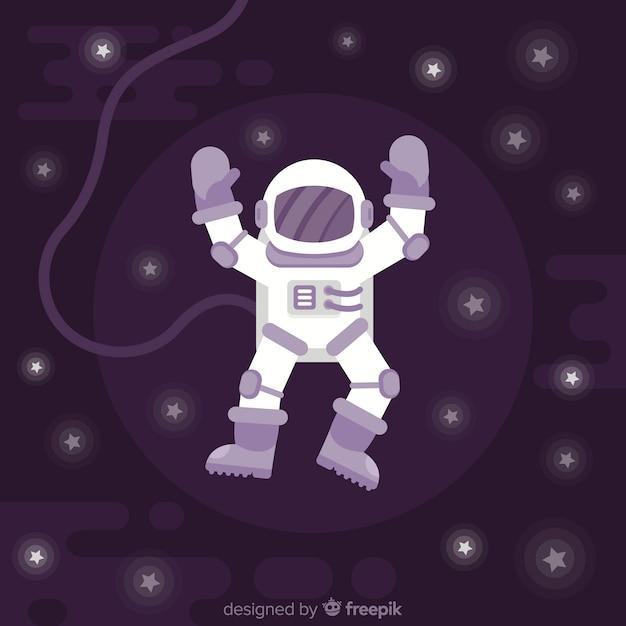 Caractère astronaute moderne avec un design plat Vecteur gratuit