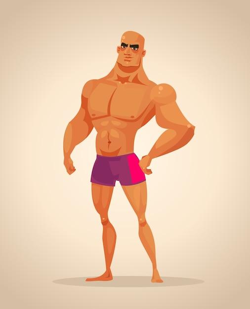 Caractère De Bodybuilder Homme Fort. Illustration De Dessin Animé Vecteur Premium