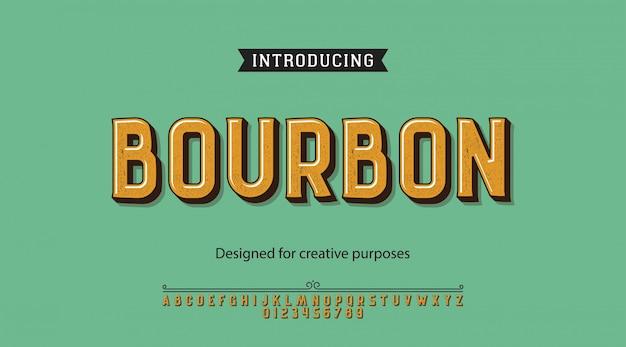 Caractère bourbon.pour étiquettes et différents types Vecteur Premium