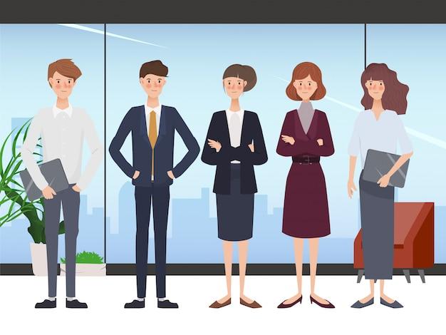Caractère De Bureau Business People équipe De Travail D'équipe. Espace De Travail Et Design D'intérieur. Vecteur Premium