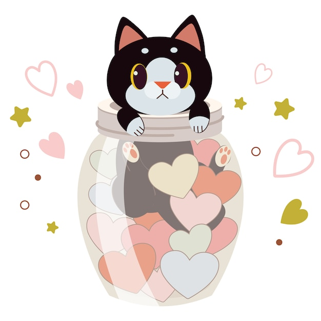 Caractère De Chat Mignon Dans Un Pot Avec Le Coeur Sur Blanc Vecteur Premium