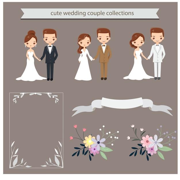 Caractère de couple de mariage mignon pour carte d'invitations de mariage Vecteur Premium