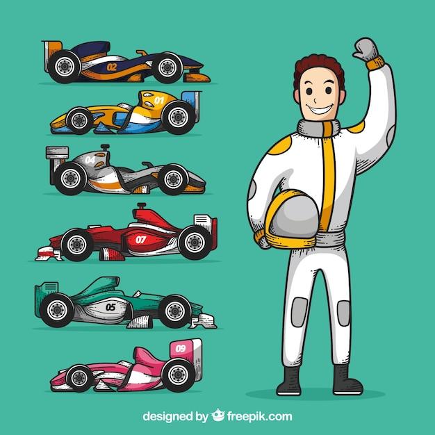 Caractère de course de formule 1 dessinés à la main Vecteur gratuit