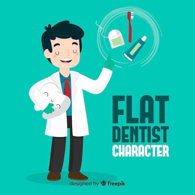 Caractère de dentiste plat Vecteur gratuit