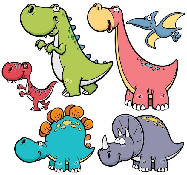 Caractère de dinosaure de dessin animé Vecteur Premium