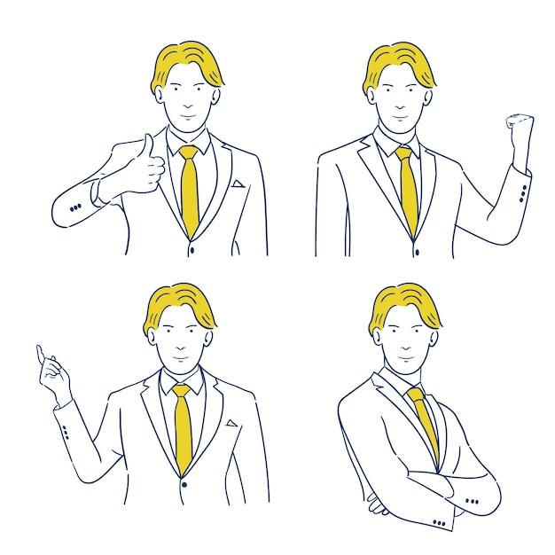 Caractère du jeune homme d'affaires dans divers gestes. Vecteur Premium
