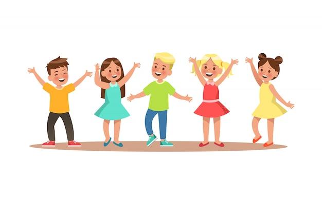 Caractère d'enfant heureux. enfant dansant. Vecteur Premium