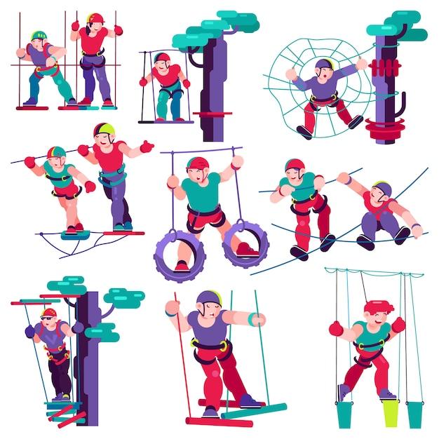 Caractère d'enfant vecteur corde enfants d'escalade dans les enfants d'illustration aventure corde-parc Vecteur Premium