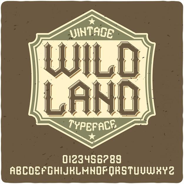 Caractère De L'étiquette Wild Land Vecteur Premium