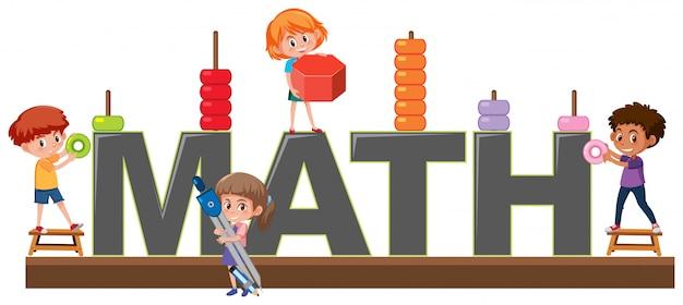 Caractère des étudiants sur le logo math Vecteur Premium