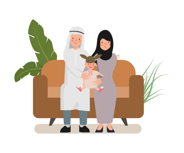 Caractère De La Famille Arabe. Les Gens En Costume National Hijab. Vecteur Premium