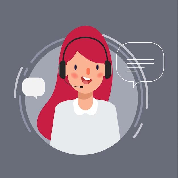 Caractère de femme d'affaires occupant un poste de centre d'appels pour l'animation. Vecteur Premium