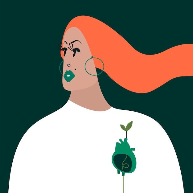 Caractère De Femme Gingembre Avec Une Illustration De Coeur Vert Vecteur gratuit