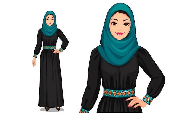 Caractère des femmes musulmanes en tenue traditionnelle Vecteur Premium