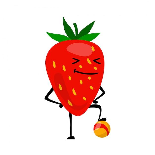 Caractère de fraises de sport jouant au football. Vecteur Premium