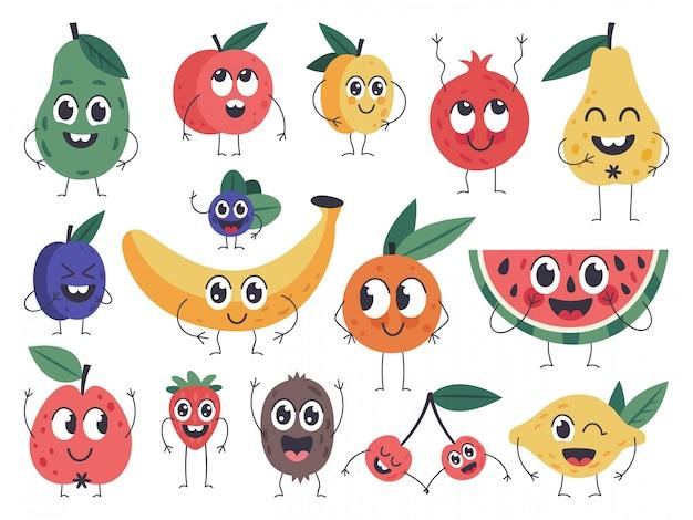 Caractère De Fruits. Doodle Mascottes De Nourriture Végétarienne, émotions Comiques De Fruits Heureux, Pomme Mignonne, Banane Et Jeu D'icônes D'avocat Drôle. Mascotte De Vitamine De Fruit, Illustration Végétarienne De Prune De Poire Vecteur Premium