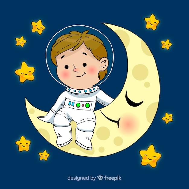 Caractère de garçon astronaute dessiné main belle Vecteur gratuit