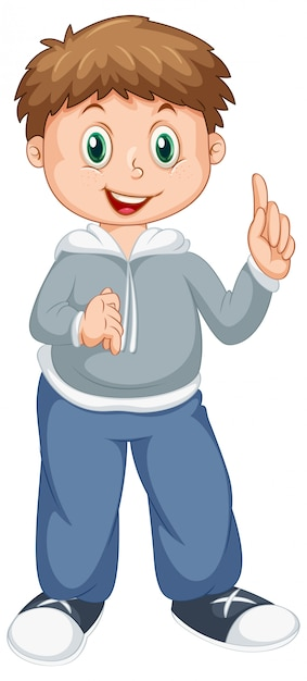 Caractère de garçon heureux sur blanc Vecteur gratuit