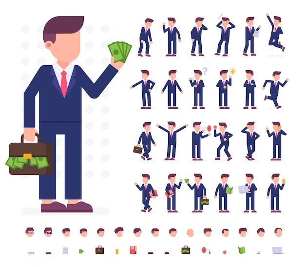 Caractère d'homme d'affaires dans des poses différentes Vecteur Premium