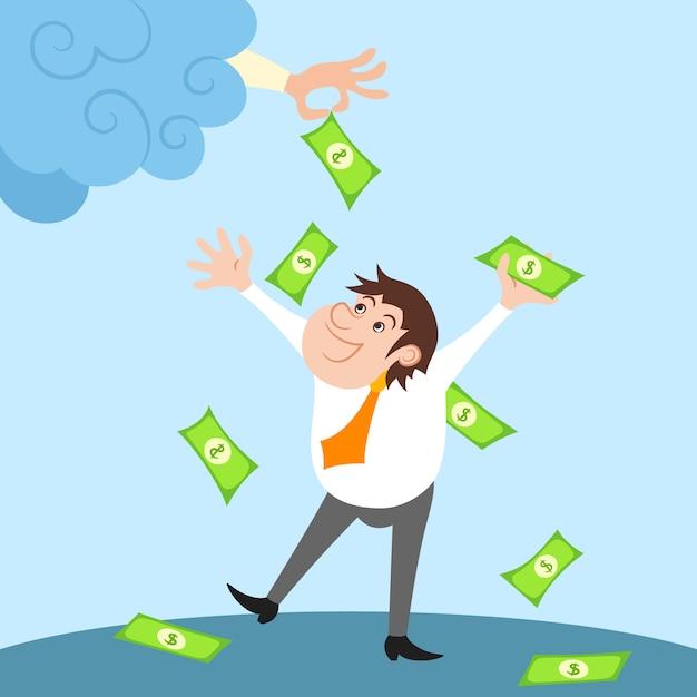Caractère d'homme d'affaires heureux debout sous une pluie d'argent après le succès financier Vecteur gratuit
