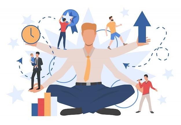 Caractère d'homme d'affaires montrant différents rôles sociaux Vecteur gratuit