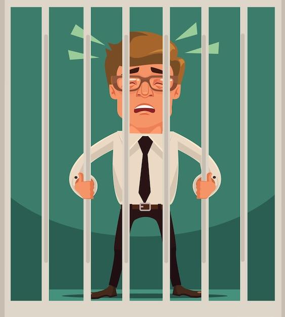 Caractère D'homme D'affaires Prisonnier. Vecteur Premium