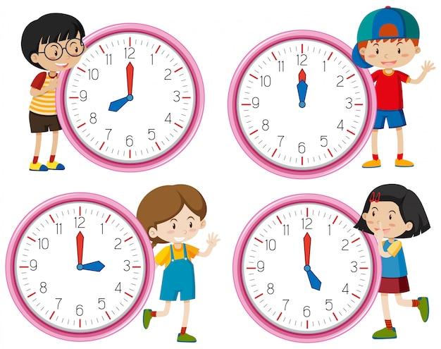 Caractère d'horloge avec enfants Vecteur gratuit