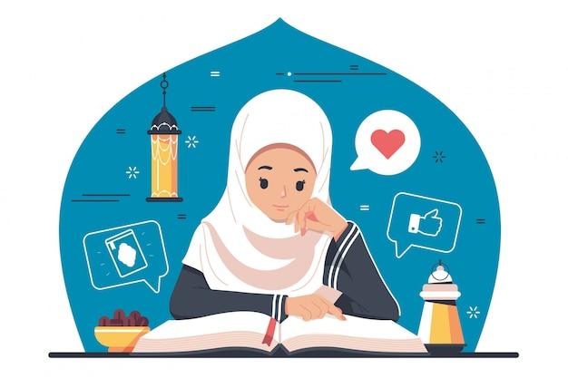 Caractère Islamique Lisant Le Coran, Le Coran Vecteur Premium