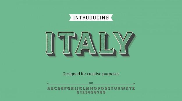Caractère italie.pour étiquettes et dessins de types différents Vecteur Premium