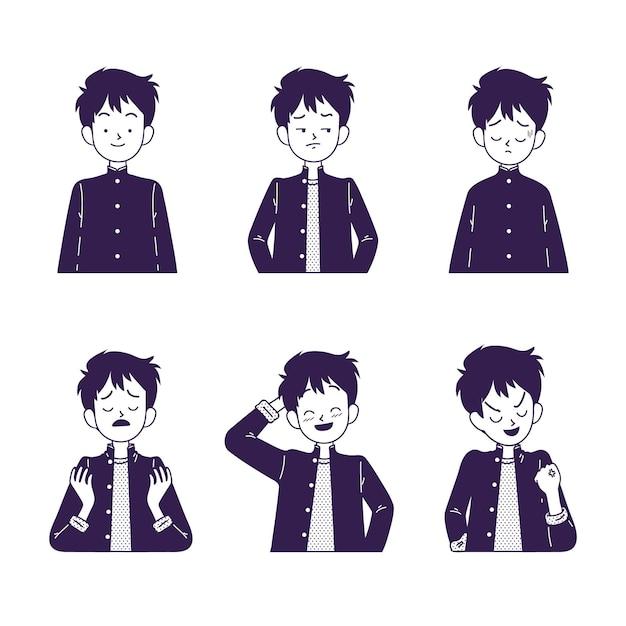Caractère Japonais Avec Différentes émotions Vecteur gratuit