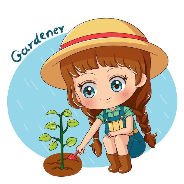 Caractère jardinier Vecteur Premium
