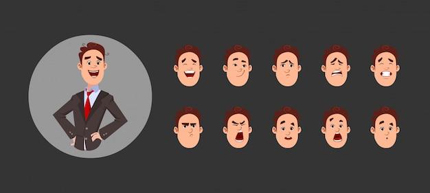 Caractère de jeune garçon avec diverses émotions faciales et synchronisation labiale. personnage pour une animation personnalisée. Vecteur Premium