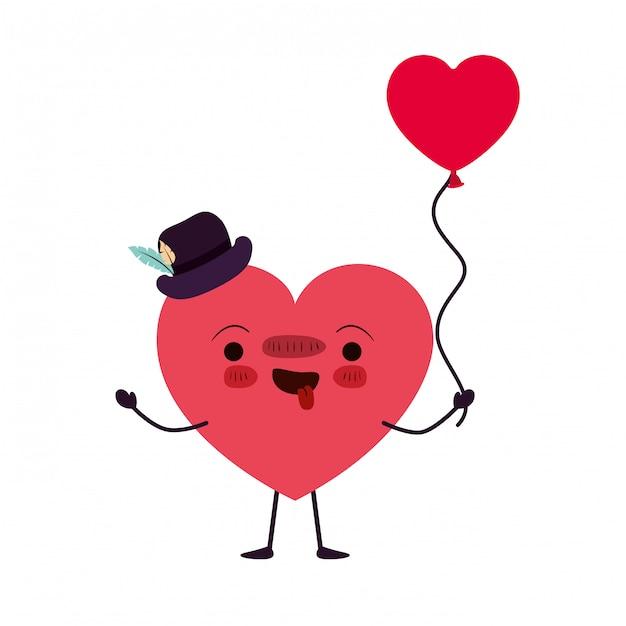 Caractère kawaii d'amour du coeur Vecteur Premium