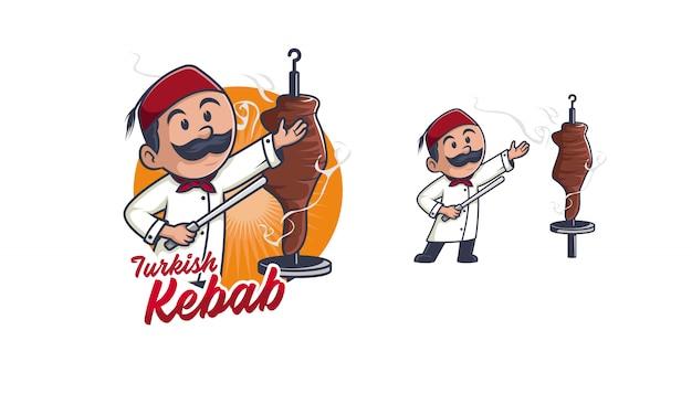 Caractère De Logo Kebab Chef Vecteur Premium