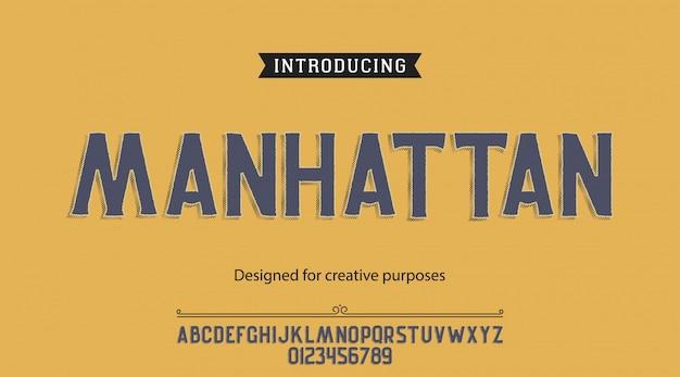 Caractère manhattan.pour étiquettes et différents types Vecteur Premium