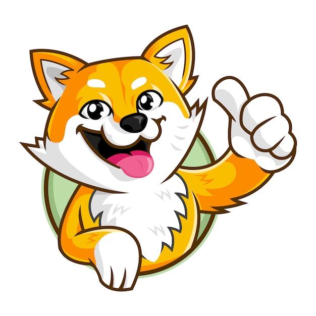 Caractère de mascotte de chien shiba inu, souriant modèle de logo de dessin animé de chien Vecteur Premium