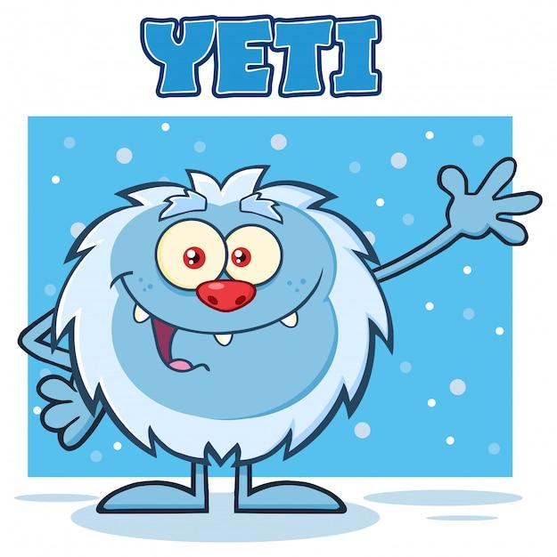 Caractère mascotte yeti cartoon agitant pour saluer Vecteur Premium